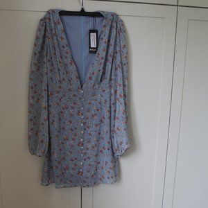 New with Tags Blue Floral Long Sleeve Mini Dress